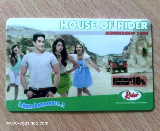 kartu member house of rider